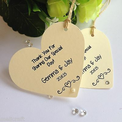 Cream/Ivory Elegant Heart Tags for Wedding Favours/Gifts - Personalised!