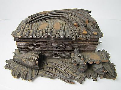 Antique Folk Art Wood Carved Box birds nest black forest hinged top decorative