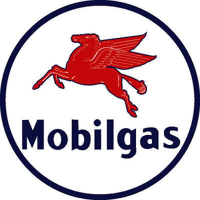 "Mobilgas 26"" Diameter Metal Sign Baked Enamel"