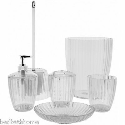 NEW Carnation Home Fashions Ribbed Acrylic Bath Accessories - Clear