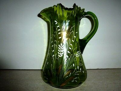 "Emerald Green Ruffled Glass Pitcher Hand Painted Gold Trim Vintage 9.5"" H Nice!"