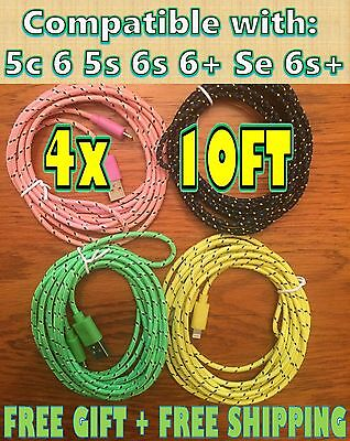 4x 10ft 3M LOT Long BRAIDED Charger Cable FITS iPhone 6+ 5 5c 5s 6 7+ 6s 7+GIFT