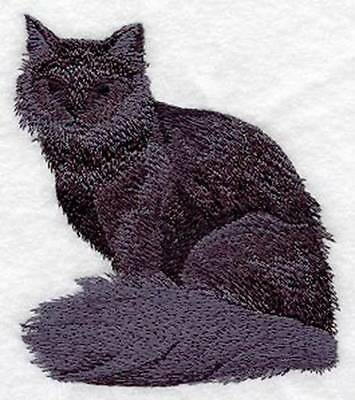 Custom Embroidered Iron/Sew on Long Haired Cat Silhouette Applique, Badge, Patch