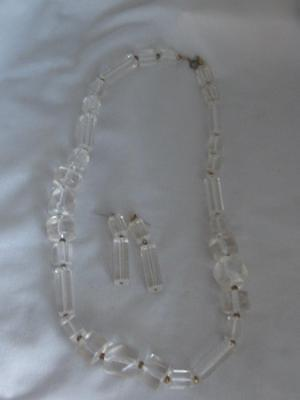 "Vintage Clear Lucite Multi Shape Bead 25"" Strand Necklace & Dangle Earring Set"