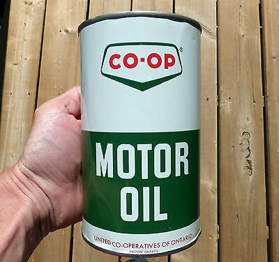 Rare full Canadian CO-OP 1 imp. quart motor oil tin can; Ontario & NB FREE SHIP!