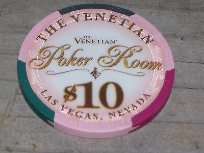 $10 Poker Gaming Chip From The Venetian Casino, Las Vegas Nv
