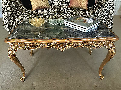 Coffee Table (Gold w/Black Marble Top)