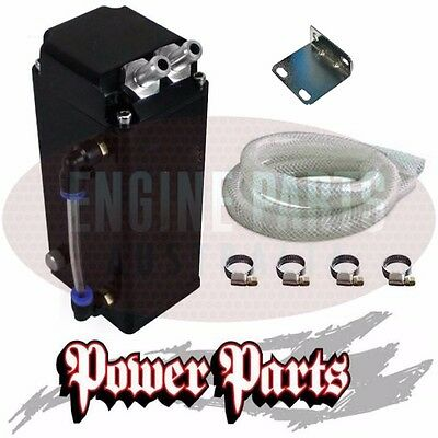 1L Square Black Billet Oil Catch Can Tank Breather Reservoir With 12Mm Fittings