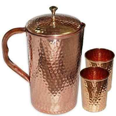 Pure Copper Jug with Lid and 2 Tumbler Glass Set for Ayurvedic Healing, Diameter