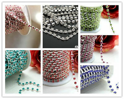 1yd/3-4mm mix color bottom crystal rhinestone chain trim sewing craft jewelry