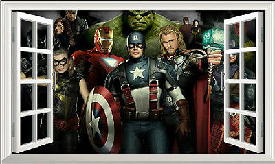 Wall stickers 3D window Avengers Super hero 100x60cm decor removable PVC kids