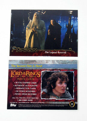 2002 Topps Lord of the Rings The Two Towers Promo Card (P1 Error Card) Nm/Mt