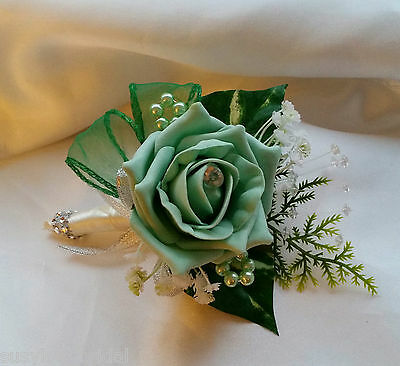Sophie Corsage Luxury Mint Diamante Wedding Corsage Pin On Satin Ribbon