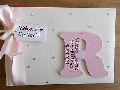 Personalised Newborn Babys Photo Album/Scrapbook/Memory Gift With Box