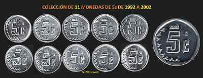 MÉXICO)  5c COMPLETE KIT, ISSUE OF 11 COINS (1992-2002)