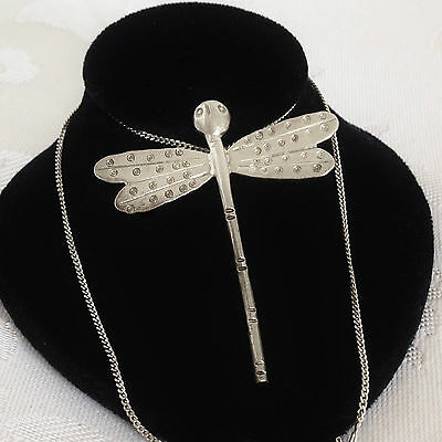 Vintage STERLING SILVER Dragonfly Insect Bug Necklace Hand Made Med Size 8.5g
