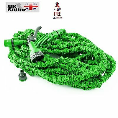 EXPANDABLE FLEXIBLE GARDEN HOSE PIPE 3x EXPANDING WITH SPRAY GUN UK