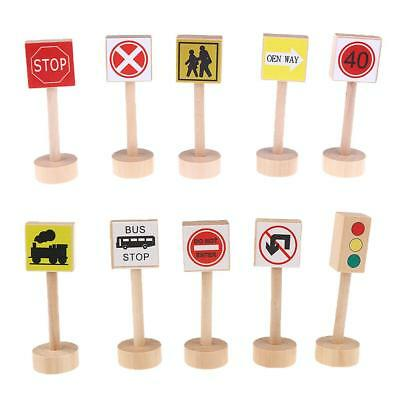 Educational Wooden Early Learning Kids Traffic Signs Learn Play Toy Set Gift