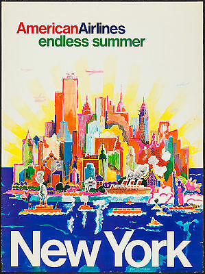 1948 See New York via Mainliner Vintage Style Airline Travel Poster 24x36