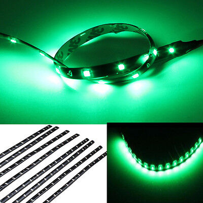 New 8pcs 12V 15 LED 30cm Car Motor Vehicle Flexible Waterproof Strip Green Light