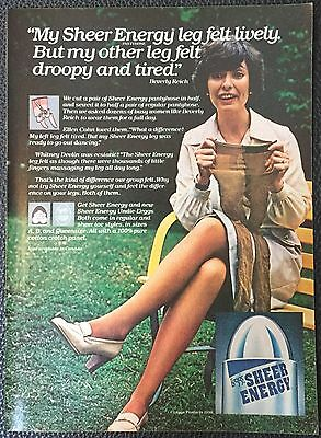 Vintage 1978 L'eggs Sheer Energy pantyhose Magazine Ad Print- lively, droopy