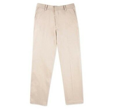 George Boys School Uniforms Husky Flat Front Khaki Pants Scotchgard; Many Sizes!