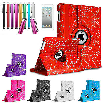 Bling 360 Degree Rotation Smart Leather Smart Stand Case Cover fit for iPad 234