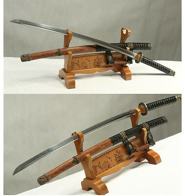 Damascus Folded  Steel  Clay Tempered Rose Wood  Japanese Army Katana  Sword