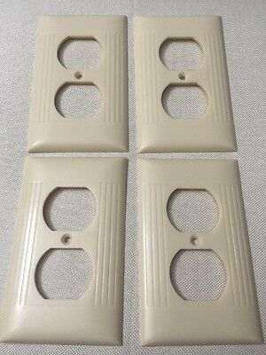 Vintage Sierra Bakelite Ivory Ribbed Outlet Receptacle Plate Covers Lot Of 4 Usa