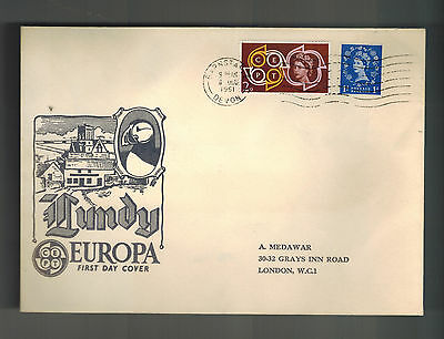 1961 Lundy England First Day Cover Europa Stamps FDC to London