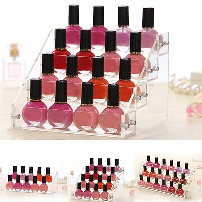 2/3/4 Tier Clear Acrylic Ink Nail Polish Display Stand Rack Organiser Holder NEW