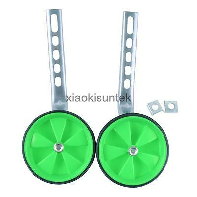 "Adjustable Bicycle Safety Training Wheels for 12""-20"" Kids Bike Green"