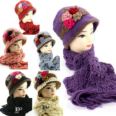 1920 Vintage Style Cloche /knitted/Handmade Hat and Scarf Set 4F,one size