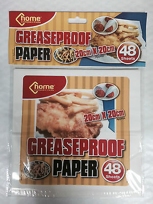 Greaseproof Paper Square 20 x 20cm Food Fries Wrap Serving White 48 Sheets