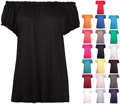 Womens Plus Size Off Shoulder Ladies Stretch Short Sleeve Long Gypsy T-Shirt Top