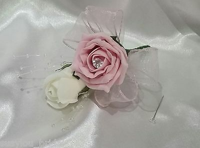 Wedding Buttonhole/Corsage Vintage Pink & Ivory Roses Pink Ribbon
