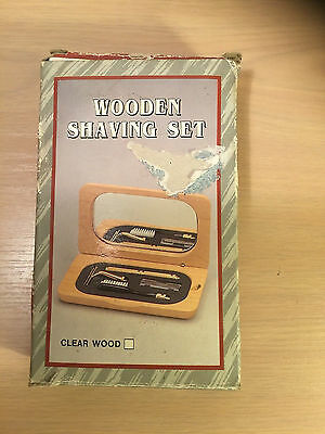 80s wooden shaving set new in original box shaver and toothbrush mahagony colour