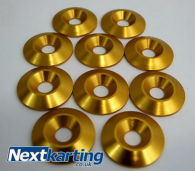 Kart Alloy CSK 30 x 5 x 8mm Seat Washers M8 Gold  x 10  - NextKarting