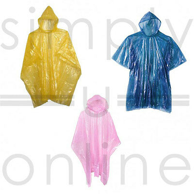 10 X Emergency Rain Ponchos Waterproof Coat  Disposable  Festivals, Camping....