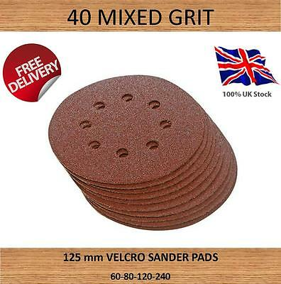 40 x hook and loop abrasive sanding discs disc pads  125mm  8 hole