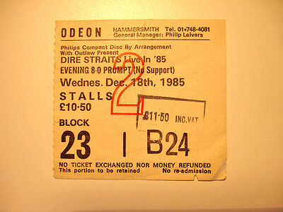 DIRE STRAITS Used 1985 Live Concert Ticket Hammersmith Odeon Live in 85 Knopfler