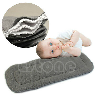 Bamboo Fiber Charcoal Washable Cloth Nappies Diaper Insert Reusable 5 Layers