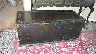"antique dark oak chip carved English hinged box,48""long,bench height,hope chest"