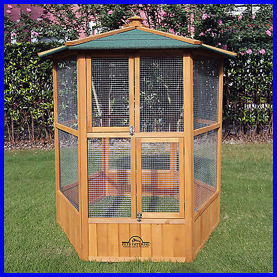 Pets Imperial® Large Wooden Hexagonal Bird Aviary Cage Birds Parrot Canary