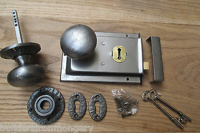 Antique Cast Iron Old English Rim Lock Door Knob Set Handles