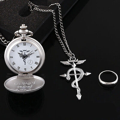 Alchemist Edward Elric the cross necklace pocket watch ring three-piece suit