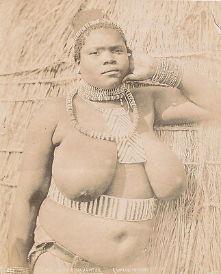 Old  Photo of A Zulu Chief 's Daughter  South Africa C1895