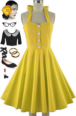 677b9497a53 50s Style Miss Mabel YELLOW POLKA DOT Print Pinup HALTER Sun Dress w BUTTONS