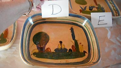 """vintage hand painted Old Mexico redware pottery rectangle Tlaquepaque tray 12"""" D"""