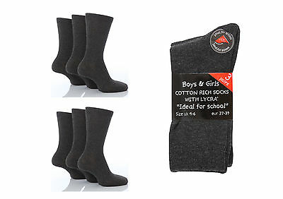 6 Pairs Boys / Girls Back to School Cotton Rich Ankle Socks Grey various sizes